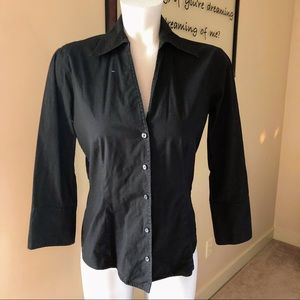 The Limited Black Button Down Long Sleeve Top